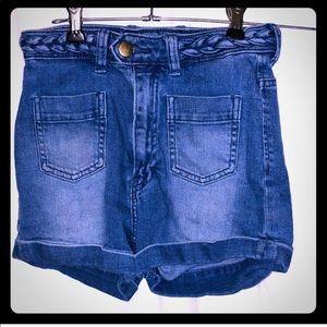 H&M jean shorts with braid belt size 2